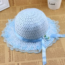 Children Kids Baby Girls Lace Flower Brim Summer Beach Sun Straw Visor Hat Cap