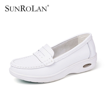 SUNROLAN 2017 Spring Summer Women Flat Platform Shoes Fashion White Nursing Shoes Slip On Loafers Women Shape Up Shoes PP8016