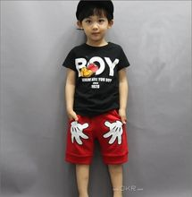 Kids Boys Mickey hands Clothes Sets Baby Summer Style T Shirts+Shorts Pants boys Minnie Sport Clothing Suits Fantasias Infantis