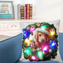 Christmas Lighting LED Cushion Cover Home Decor Throw Pillowcase Sofa Flashing 2017 Merry Christmas LED Cushion Cover drop ship