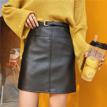 Buy Autumn winter women PU leather short skirt black Army green Apricot slim leather sexy High waist Mini skirt female design skirt for $17.19 in AliExpress store