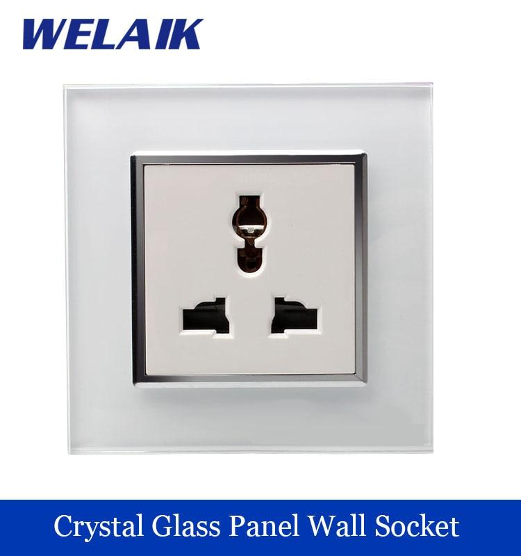 WELAIK NEW Multifunction universal power Socket plug  3 Pins Crystal Glass Panel White 10A Manufacturer  Free Shipping A18MUW/B<br><br>Aliexpress