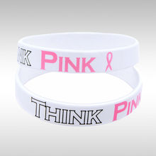 Think Pink Ribbon Breast Cancer Awareness of Breast Cancer Wristband,Free Shipping(China)