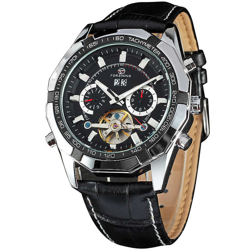 WINNER Military Sports Mens Tourbillon Watches Leather Strap Male Auto Mechanical Wrist Watches Calendar Date 2 Sub-dial +BOX<br>