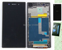 New Lcd Display+Touch Glass Digitizer+Frame Assembly+black back rear cover For Sony Xperia Z1 C6902 C6903 c6906 free shipping