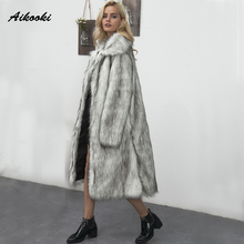 Aikooki Long Coat Faux Mink Fur Thick Plush Female Hairy Overcoat Warm Outerwear Faux Fox Parka Woman Winter Fluffy Clothes(China)