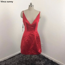 2017 Sexy V Neck Spaghetti Strap red Satin A Line Mini Short Celebrity Dress Selena Gomez Oscar Red Carpet Dresses