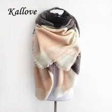 Luxury Brand Kallove scarf za winter big square Scarf Plaid women Scarf Unisex Acrylic Shawls blanket scarves warm bufandas