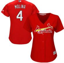 MLB Women's St. Louis Cardinals Yadier Molina Scarlet Alternate number 4 Cool Base Player Jersey(China)