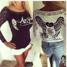 2016 New Fashion Women's T shirt Back Hollow Angel Wings Tshirt Tops Autumn Style Woman Lace long Sleeve Tops T shirts Clothing