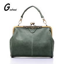 hasp solid color blue green gray pink Nubuck leather style Handbags Messenger Metal frame Clutch Bags Women lady shoulder bag