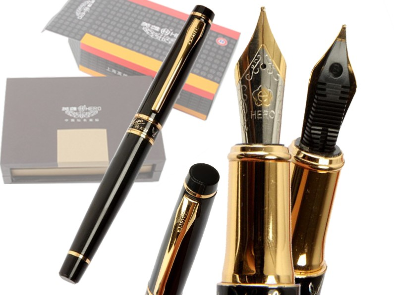 8pcs/lot Fountain pen Black HERO 1021 student supplies executive standard pens stationery set Free Shipping<br>