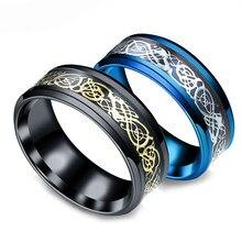 42a94c562865 2019 oro de la vendimia del dragón del envío libre 316L Acero inoxidable  anillo para hombre joyería para hombres señor Banda de .