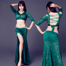New Arrival Belly Dance Long Skirt 2-Piece Lace Dress Sexy Dancer Practice Costume Set Green Black Red Turquoise Free Shipping(China)