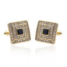 Rhinestone Shirt Studs For Men Gold Silver Metal Cufflinks Black Square Crystal For Men's Wedding Party Jewelry Accessories Gift(China)