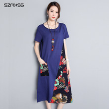 Plus Size 4XL Long Sleeve Cotton Linen Dress Blue Color Patchwork A Line Casual Dress Womens Clothes Vestidos Mujer Jurken Robe(China)