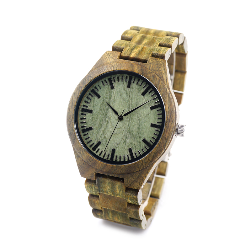 BOBO BIRD F19  Mens Unique Verawood Wooden Watches Green Dial Wrist Watches With Wood Links In Gift Watch Box<br><br>Aliexpress