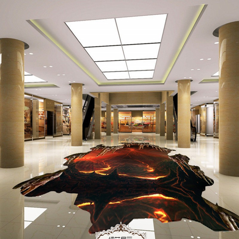 Free Shipping Volcanic eruption 3d flooring moisture proof thickened home decoration bathroom bedroom flooring wallpaper mural<br>