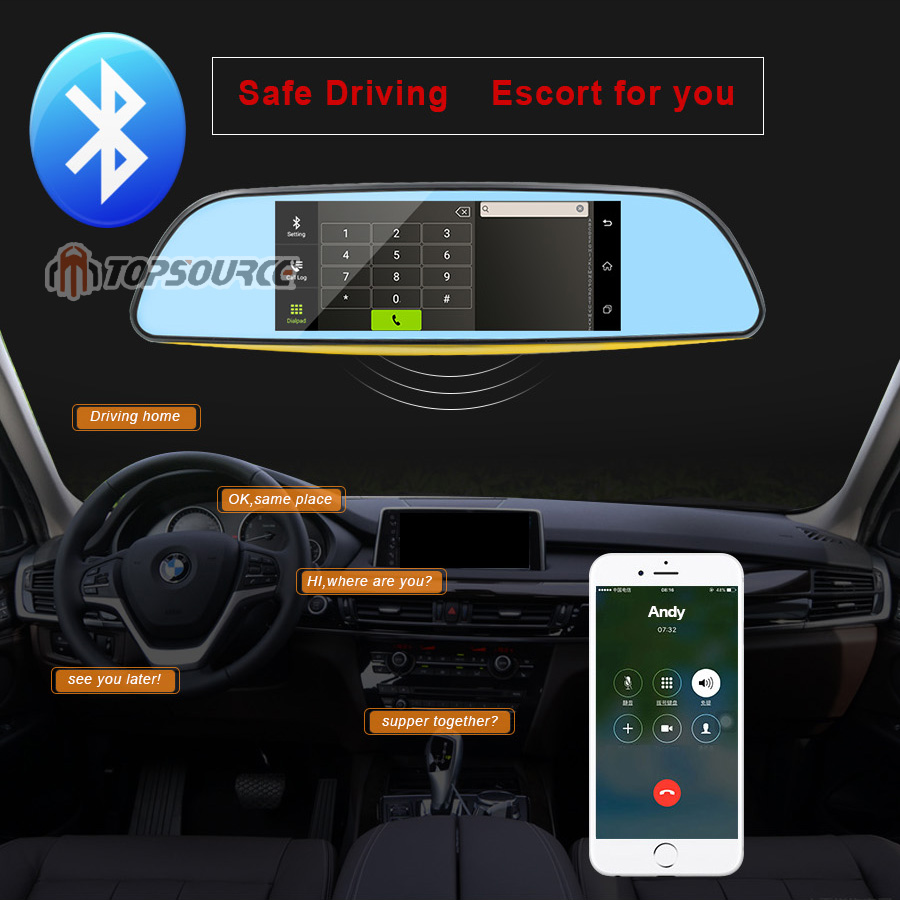 """TOPSOURCE Auto GPS ANDROID 5.0 1G/16G 3G 7"""" IPS Car DVR Mirror Camera Dual Lens 1080P Video Recorder Dash Cam Parking Monitor 3"""