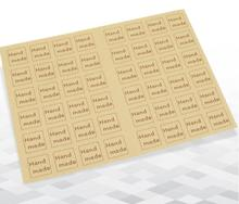 480pcs Self-adhesive Brown Kraft peper square handmade sealed stickers 20 sheets 480pcs DIY Handmade For Gift Cake Baking Seal