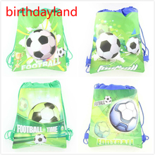 2PCS 36*25cm Football cartoon non-woven fabrics drawstring backpack,schoolbag,shopping bag