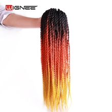 Wignee 3 Tones Ombre Color Slim Senegalese Twist Hair Extensions 20 Inches High Temperature Hand Crochet Braids For Black Women(China)