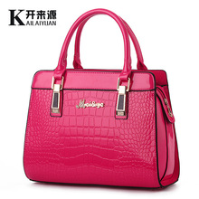 100% Genuine leather Women handbags 2017 new bright leather female bag stone high-grade shoulder bags of western style air bag