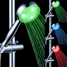 Temperature Sensor Creative 3 Color Changing LED Light Shower Head for Bath Room