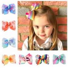 1 piece 6 Inch Large Rainbow Grosgrain Ribbon Bow With Clip Kids Cartoon Hair Clip Boutique Gradient Hair Accessories 723
