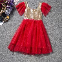 Summer Korean Girls Dress Golden Sequined Baby Dress Ruffle Tutu Dress Sequin Retail Bling Bling Sequins Girls Dresses(China)