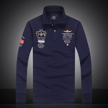 2017 mens Autumn 100%cotton AERONAUTICA MILITARE long sleeve Air force one man polo shirt  Casual fashion Embroidery Polo shirt