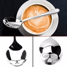 2017 Hot Sale Stainless Coffee Spoon Skull Shape Dessert Spoon Food Grade Stainless Ice Cream Candy Tea Spoon Tableware(China)