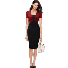 Free Shipping Women Office Dress Summer OL Elegant Pencil Work Dress Knee Length Formal Bodycon Business Dress Women Clothing