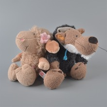 2Pcs 25cm NICI Brown Sheeps And Black Wolf Stuffed Plush Toy, Baby Kids Doll Gift Free Shipping