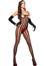 Autumn 2017 New Sexy Women Valentine Sleepwear Hot Black Sheer Vertical Striped Bodystocking LC79883 One Size Fit S M L(China)