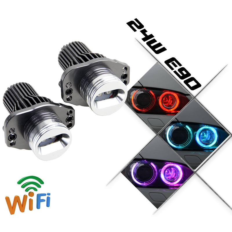 Remote control 12V LED marker headlight for BMW E90 E91 24W RGBW color change LED angel eyes halo ring bulb for BMW<br><br>Aliexpress