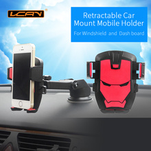 LCAV Car Retractable Mobile phone Holder For 3-6.5 inch devices Windshield and Dash board Adjustable Holder Stand(China)