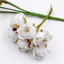 60pcs Silk Big Rose Bud Artificial Flower Bouquet Bridal Brooch Artificial Headdress Decoration DIY Material Crown(China)