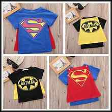 2016 Hot Kids Cartoon T shirt Baby Boys Short Sleeve Superman Batman Summer Cotton Tee Tops