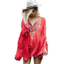 Women Ethnic vintage flower embroidery Red Hooded boho people style mini short dress hippies cotton V neck Loose sexy dress(China)