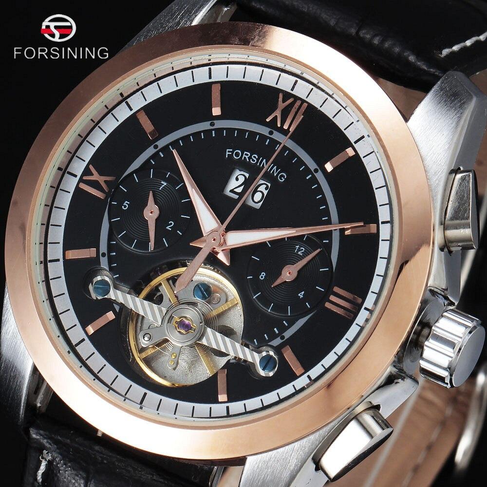 Forsining Mens Watch Automatic Tourbillon Business Leather Band Calendar Original Brand Wristwatch Militar Mechanical Watches<br><br>Aliexpress