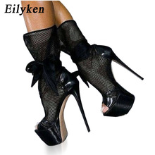 Eilyken New Fashion Black Mesh Cutouts Sandal Boots Sexy Open toe Platform high heel Boots Black Butterfly knot Club Wear shoes