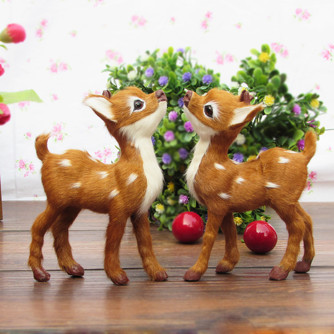 simualtion deer toy  plastic&amp; real furs model about 14x11cm sika deers one pair /2 pieces , home decoration Xmas gift w5773<br><br>Aliexpress