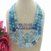 3 Stands Blue Glass Rough Round Onyx Necklace(China)