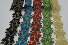 5yards iron-on hot-fix rhinestone Embroidered beads Rhinestone lace trim Bridal Wedding tulle Veil trim  wide:8cm 6colors
