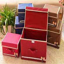 2X  Bowknot Non-Woven Have Cap Storage Box Larege And Small Size Two-Piece Set Sundries Toy Clothing And Cosmetic Storage Box