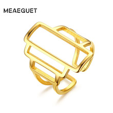 Meaeguet Women Open Rings Stainless Steel Unique Hollow Geometric Design Cocktail Finger Ring Gold-Color Fashion Jewelry 2017(China)