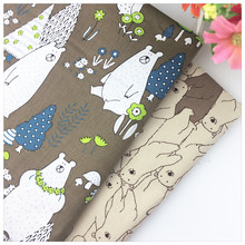 Coffee Brown Bear Printed Cotton Fabric for Patchwork Quilts Kids Cushions Patchwork Telas Sewing Tissue DIY Crafts Tilda Cloth