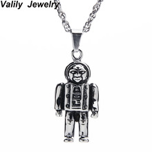 Valily Jewelry New 2017 Necklace Mens Stainless Steel Chain Black Robot Necklaces Couples Korean Ladies Fashion Trendy Pendant(China)