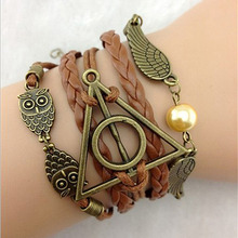 Woman Bracelets Leather Double Infinite Bracelets Braided Vintage Owl Wings Infinity Bracelet